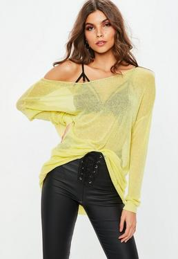 Yellow Sheer Laddered Oversized Sweater