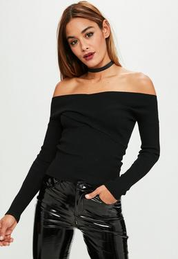 Black Cross Front Bardot Top