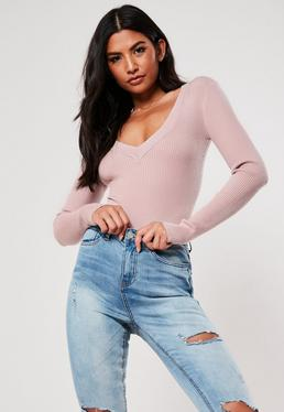 Pink Plunge Knitted Bodysuit