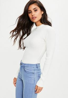 White Crew Neck Knitted Bodysuit