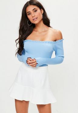 Blue Bardot Frilled Knitted Bodysuit