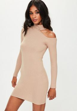 Camel Cut Away Detail Knitted Bodycon Dress