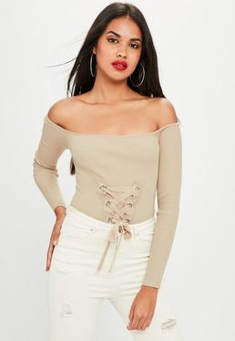 Nude Lace Up Knitted Bodysuit