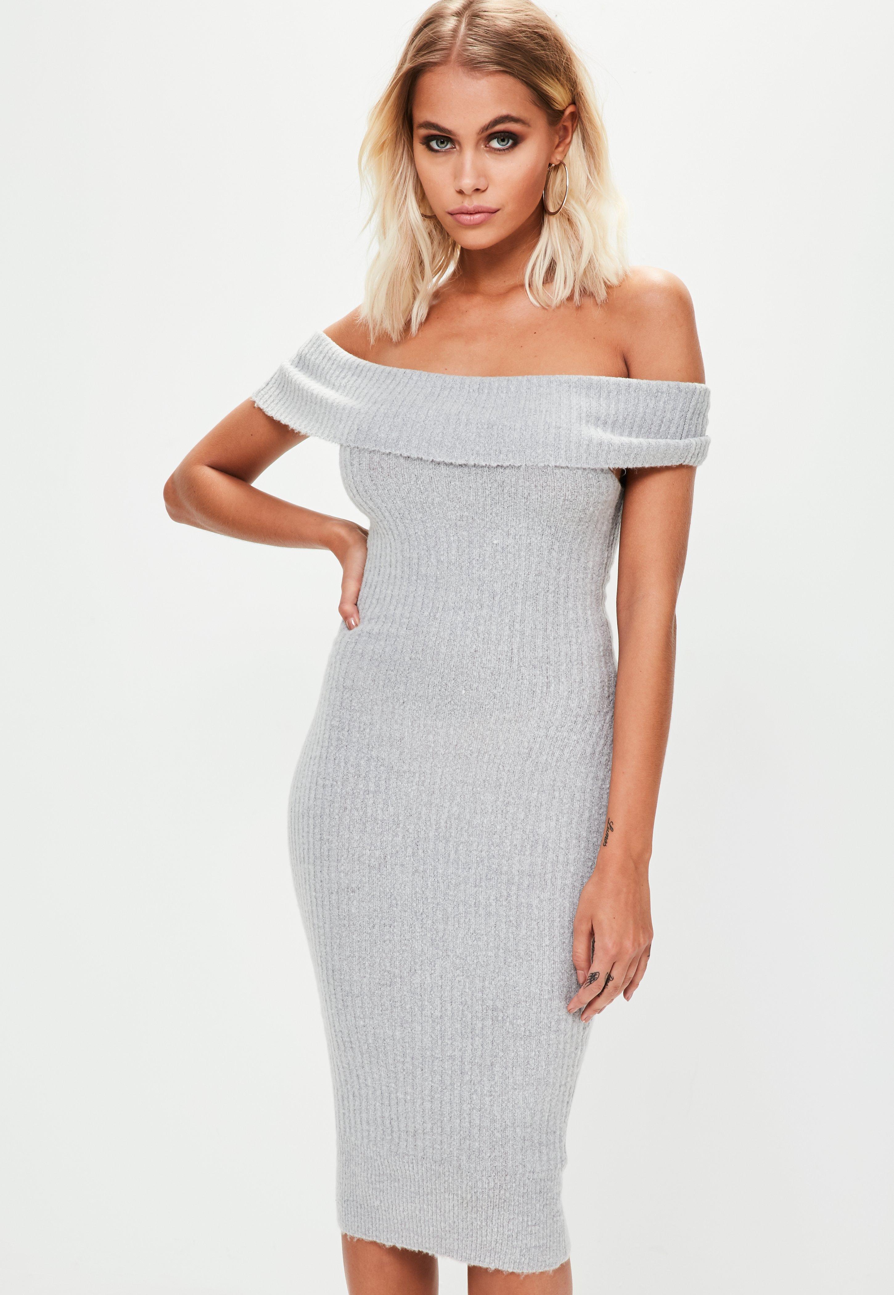 Grey Bardot Bodycon Knitted Dress Grey Bardot Bodycon Knitted Dress