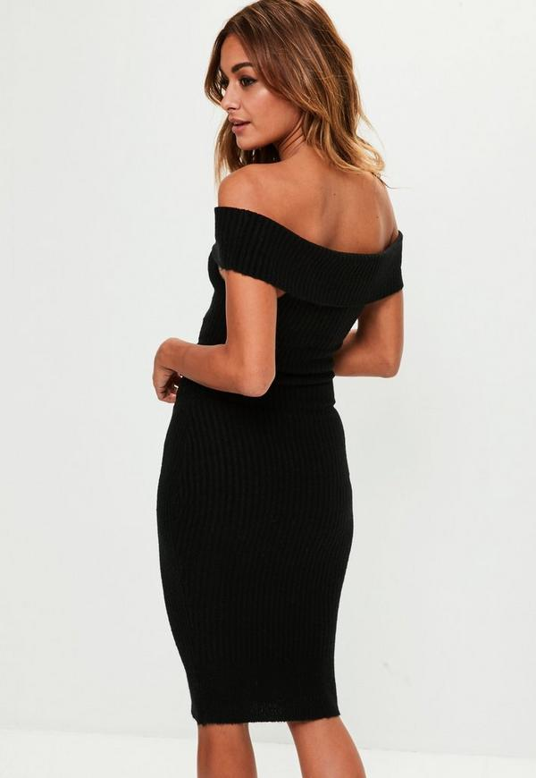 Black Bardot Bodycon Knitted Dress Missguided
