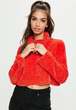 Orange Roll Neck Crop Sweater