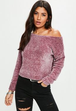Fioletowy szenilowy sweter na jedno ramię