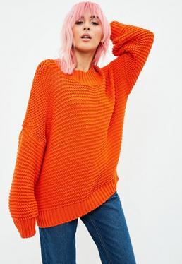 Orange Knitted Drop Shoulder Sweater