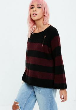 Purple Grunge Knitted Striped Jumper