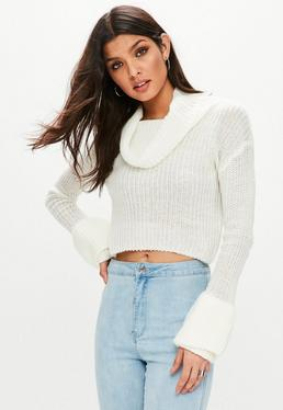 White Open Stitch Roll Neck Knitted Jumper