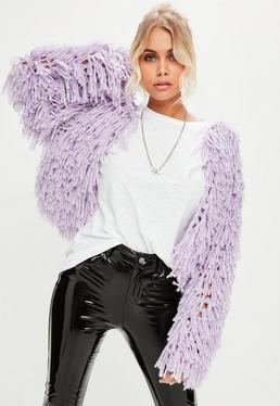 Lilac Shaggy Crop Cardigan