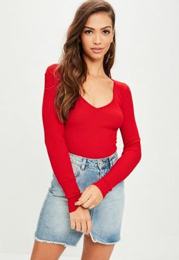 Red Plunge Bodysuit