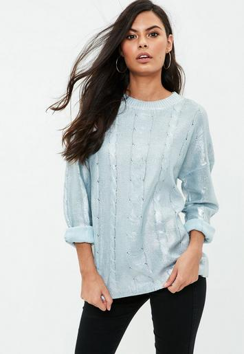 Blue Cable Sweater   Missguided