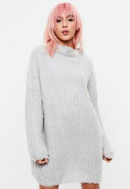 Gray Chunky Mini Knitted Dress