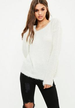 Cream Off Shoulder Fluffy Sweater
