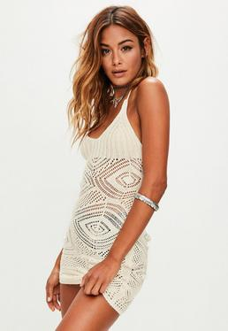 Cream Lace Up Back Crochet Knitted Dress