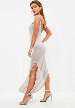 Nude Side Split Knitted Maxi Dress