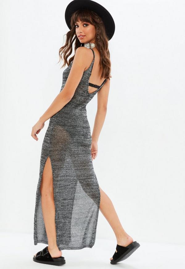 Black side split dresses