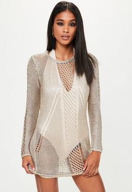 Gold Cowl Back Metallic Knitted Dress
