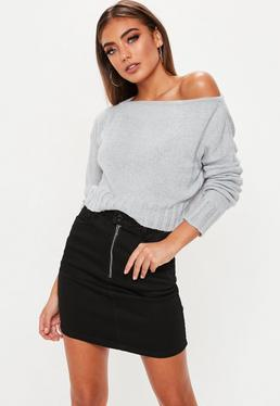Grey Brushed Off The Shoulder Knitted Sweater