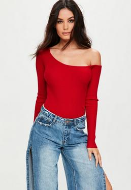 Red One Shoulder Knitted Bodysuit