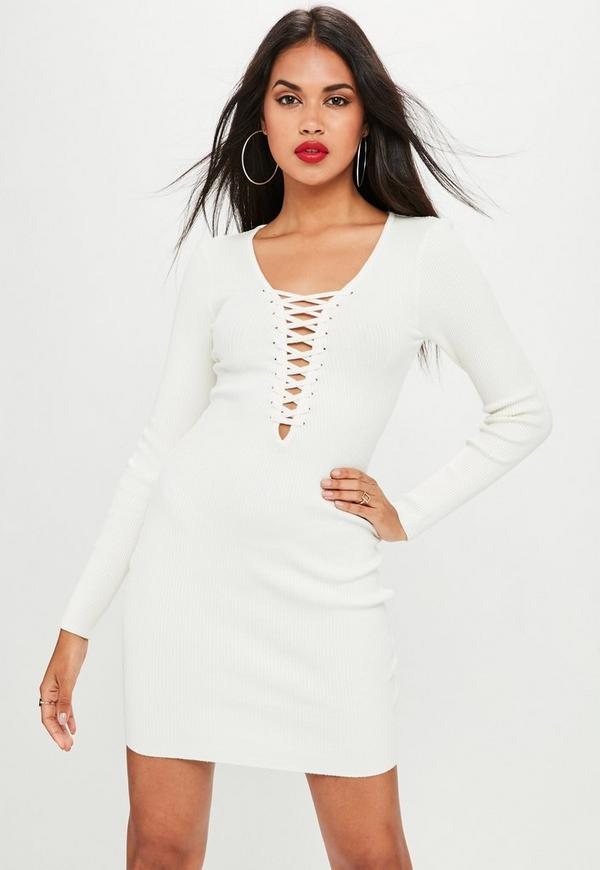 a64bc735e2da White Plunge Lace Up Knitted Mini Dress. Was  37.00. Now  15.00 (60% off).  Previous Next