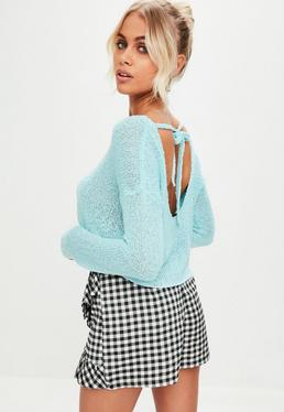 Blue Scoop Back Knitted Jumper