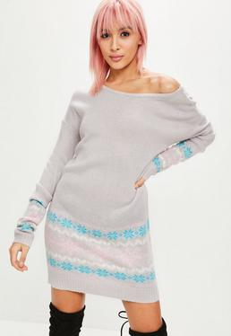 Gray Fairisle Off Shoulder Dress