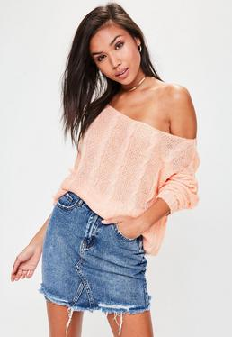 Pink Off Shoulder Cable Detail Knitted Jumper