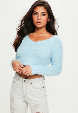 Blue Fluffy V Neck Sweater