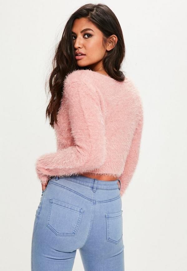 Pink Fluffy V Neck Sweater | Missguided