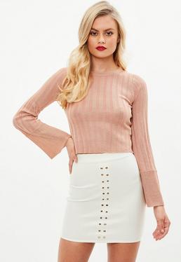 Jersey corto de canalé en rosa metalizado