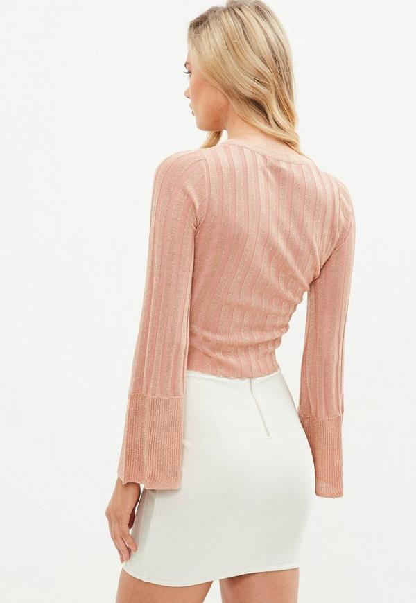 Pink Ribbed Metallic Cropped Sweater | Missguided
