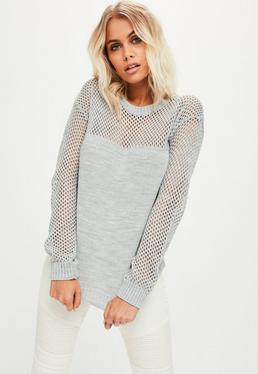 Grey Open Stitch Jumper