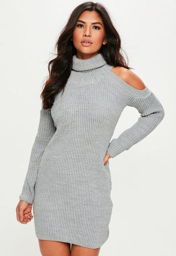 Grey Cold Shoulder Knitted Jumper Dress Missguided