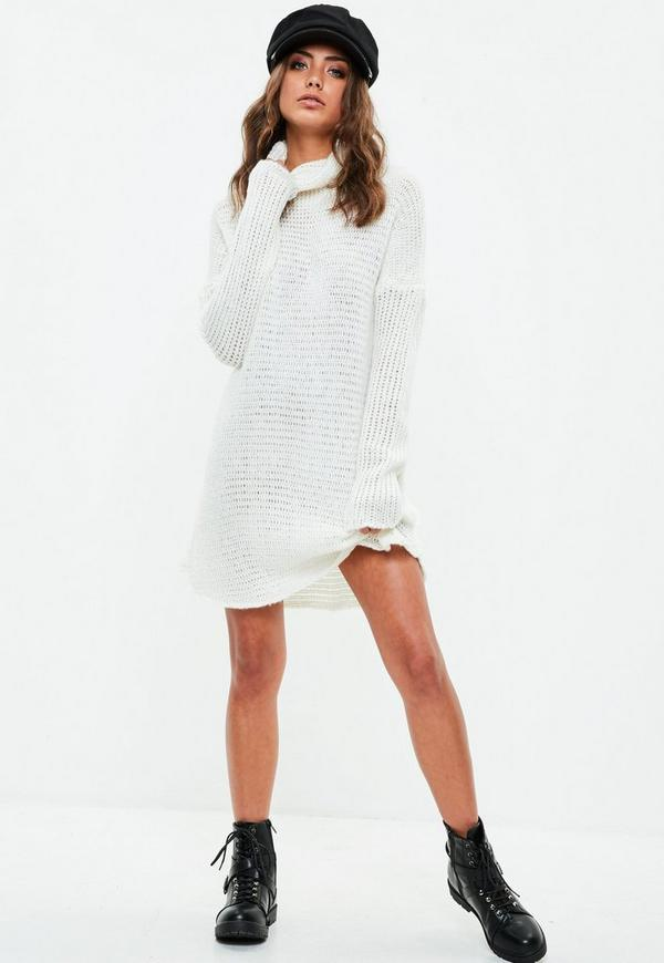 White Knitted Roll Neck Jumper Dress