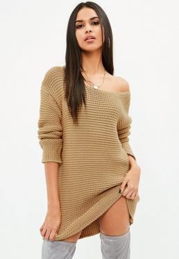 Vestido de punto oversize en marrón