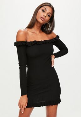 Black Frill Bardot Mini Dress