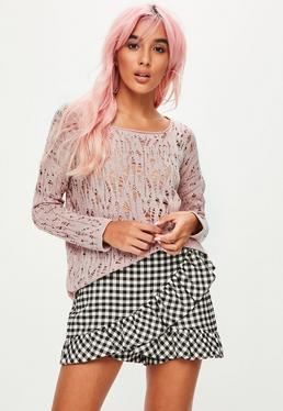 Rosa Grob-Strick-Pullover