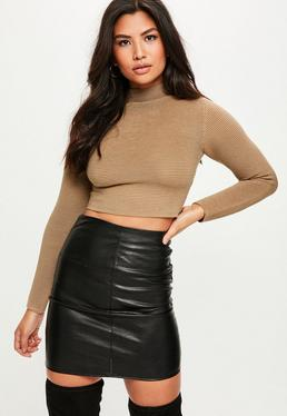 Brown Funnel Neck Ottoman Rib Cropped Sweater