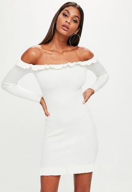 White Frill Detail Knitted Mini Dress