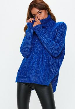 Blue Oversized Cable Sweater