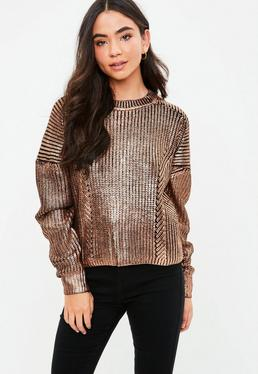 Gold Knitted Foil Coated Jumper