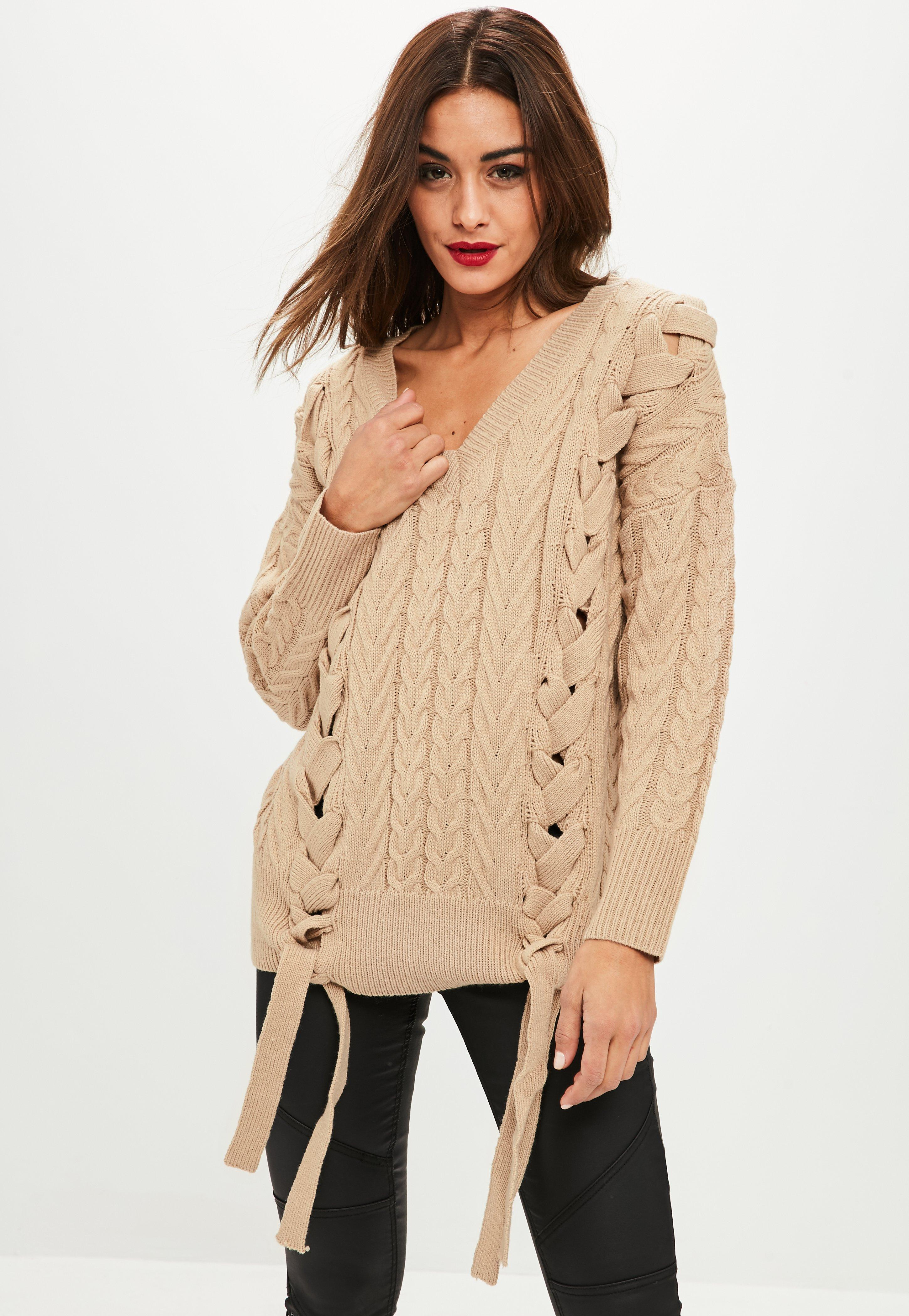 Stone Oversized Lace Up Detail Sweater | Missguided