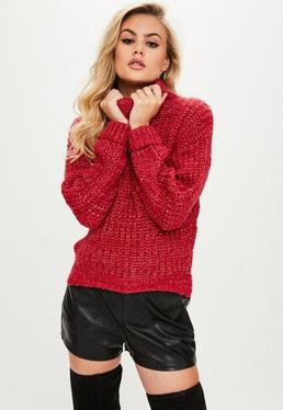 Red Chunky High Neck Step Hem Sweater
