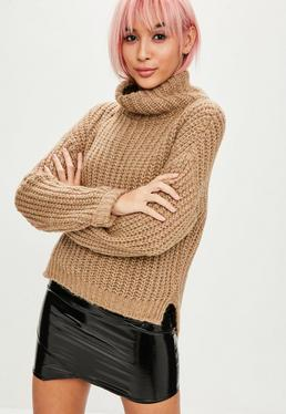 Camel Chunky High Neck Step Hem Sweater