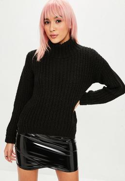 Black Chunky Step Hem High Neck Sweater