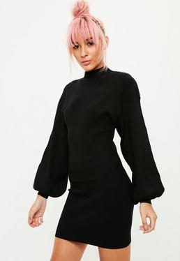 Black Balloon Sleeve Pullover Dress