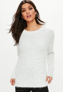 Grey Fluffy Crew Neck Knitted Jumper