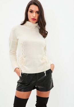 Ecru Contrast Lace Up Neck Sweater
